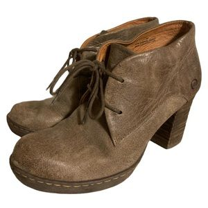 Born Brown Leather Block Booties - Women's Size 7